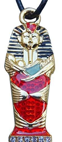 Anhänger Sarkophag des Pharao Ägyptische Tutanchamun. elften Pharao der 18. Dynastie (Neues Empire) und seine Kordel Leder