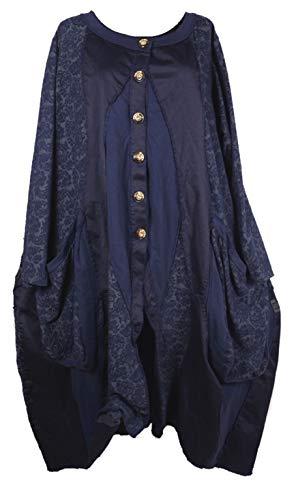 Damen Lagenlook Oversize Mantel Kardigan Swinger Trench Coat 44 46 48 50 L XL XXL Patchwork Übergang Winter Dunkel Blau (50)