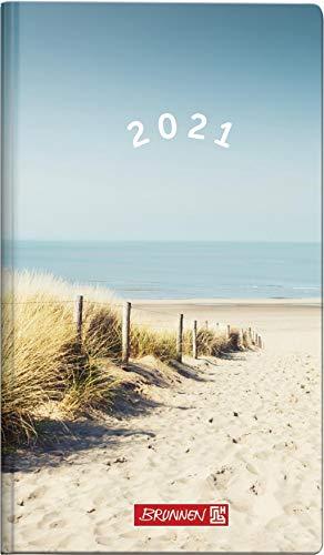 BRUNNEN 1075615031 Taschenkalender/Wochen-Sichtkalender Modell 756, 2 Seiten = 1 Woche, 8,7 x 15,3 cm, Grafik-Einband Strand, Kalendarium 2021, ohne Registerschnitt