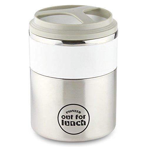 Pioneer Thermo-Speisebehälter 1,5 L Edelstahl Doppelwandig 2-in-1 mit Extra Breiten Öffnung, Isolier Lunch-Box für Suppe/Essen 4 Stunden Heiß 8 Stunden Kühl Auslaufsicher BPA-Frei – Weiß