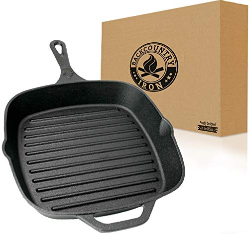"""Backcountry Cast Iron 12"""" Large Square Grill Pan (Pre-Seasoned for Non-Stick Like Surface, Cookware Range/Oven/Broiler/Grill Safe, Kitchen Skillet Restaurant Chef Quality)"""