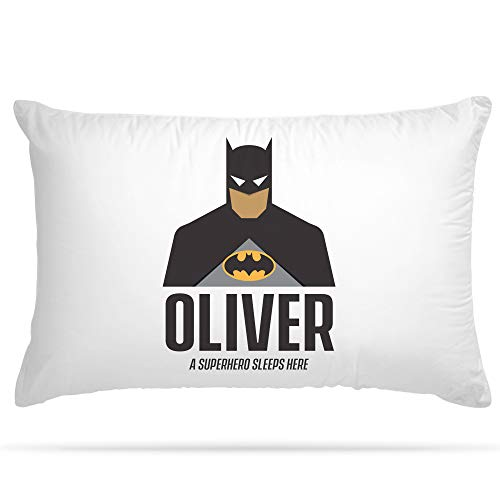 Personalised Pillow Case 15 Different Superhero Any Name Print Gift for Kids Bedroom Decoration Boys and Girls (Batman)