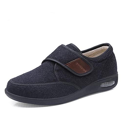 DDTT de Espuma viscoelástica Zapatillas Ajustables,Zapatos diabéticos Ajustables, Zapatos cómodos y abrigados para Ancianos-Negro_47,Zapatos Antideslizantes para hinchazón del pie