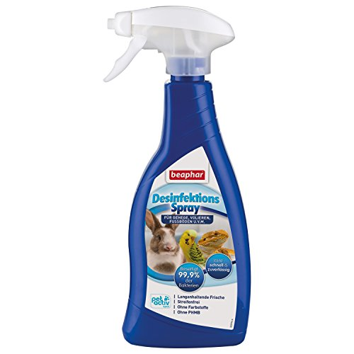 Desinfektionsspray | Beseitigt 99,9 % der Bakterien | Streifenfreies Desinfektionsmittel | Für Umgebung von Nagern & Vögeln, z.B. Volieren | 500 ml