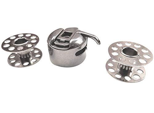 Cápsula de bobina CB + 2 bobinas de metal para Singer Brilliance 6180/6280/6160/6199 Pfaff/Brother/Toyota/Janome/Carina/Lidl / Aldi/FIF/TCM/AEG / Privileg UVM. Máquina de coser