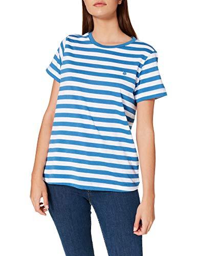 Springfield Camiseta Algodón Orgánico, Azul Medio, L para Mujer