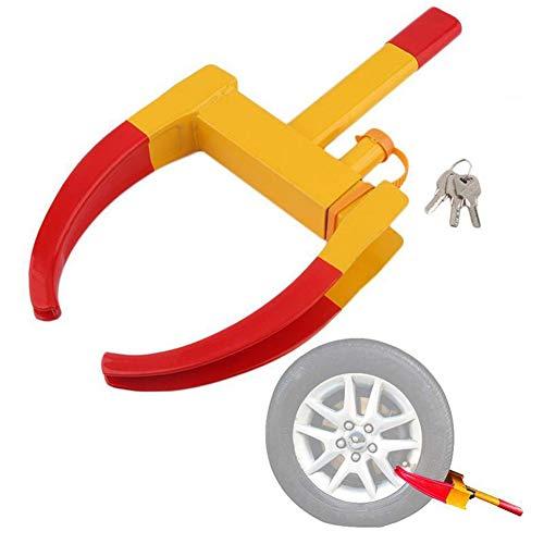 WWMH Sistema antirrobo Universal para Rueda - Bloqueo de Seguridad para neumáticos de Coche Moto Remolque y Caravana - Cepo de Ruedas con Llaves