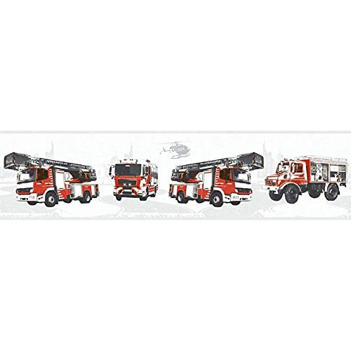 WALL-ART Dekoleiste mit Feuerwehr Auto Tapete im 3D Effekt. Rotes Feuerwehrauto Wandbild als Bordüre für Kinderzimmer