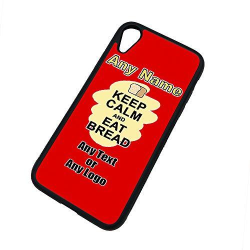 UNIGIFT - Carcasa para iPhone XR con texto en inglés 'Keep Calm Eat Bread', diseño de comida, cualquier nombre y mensaje único, funda de TPU, diseño de manzana, cartel para fiestas de dieta, aperitivos, chocolate, frutas, crema y verduras