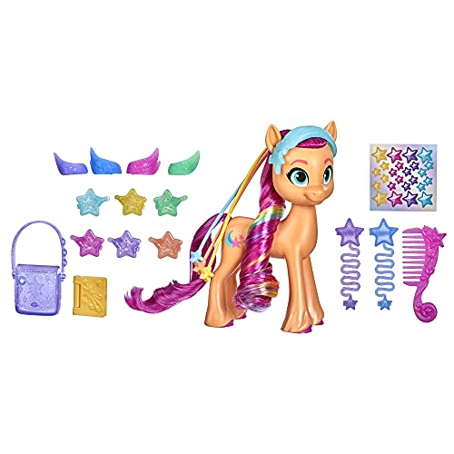 My Little Pony: A New Generation Rainbow Reveal Sunny Starscout - 6-Inch Orange Pony Toy with Surprise Rainbow Braid and 17 Accessories