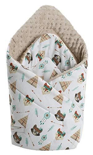Einschlagdecke Steckkissen Minky 100% Baumwolle 75x75 cm Schlafsack doppelseitiges weich ganzjährig multifunktional antiallergisch Babys Medi Partners (Indianer mit beigen Minky)