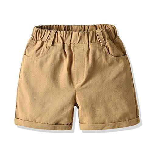 HUHOO Little Toddler Boys Girls Shorts, Casual Pull-On Elastic Waist Short Pants British Cotton Woven Shorts with Pockets (Khaki, 1-2 Years)