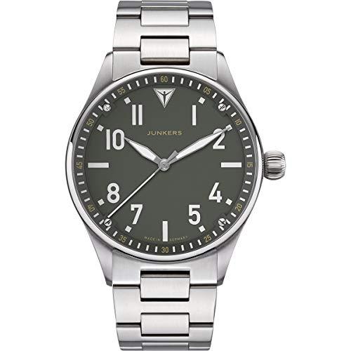 Junkers Flieger Analog Quarz Uhr Metallarmband Saphirglas grün 9.02.01.06.M