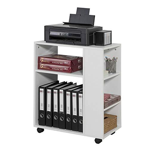 SoBuy® FBT68-W Druckertisch mit 7 Ablagen Rollcontainer Bürowagen Beistellwagen Aktenwagen weiß BHT ca: 60x75x35cm