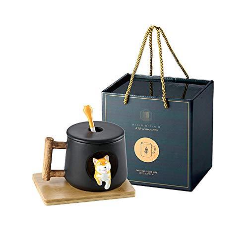 Taza de cerámica con diseño de perro de dibujos animados, con cuchara para parejas, taza de café, 420 ml