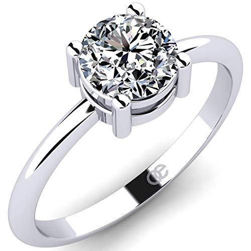 Anillo de compromiso encantador de plata 925 - Piedra de circonita brillante de 6 mm - Anillo solitario para mujer Devora - Regalo para mujer con piedra de Swarovski - Anillo de amor para muje