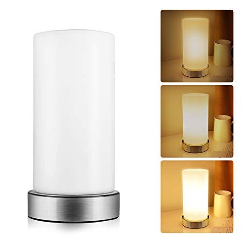 Opard Nachttischlampe touch dimmbar, Tischlampe für kinderzimmer, Tischleuchte, Nachttischlampe led, Nachtischlampen touch-dimmer,Nachtisch Lampen,Lampenschirm für Tischlampe, E14(Warmes Weiß)