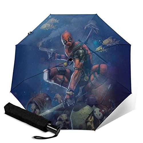 Dead-Pool Regenschirme, automatisch, dreifach faltbar, tragbar, mit Griff, für Erwachsene und Kinder, Unisex