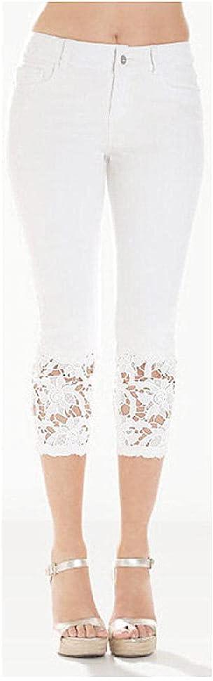 Plus Size Capri Leggings for Women, Cropped Jean Leggings Lace,Cropped Jeans with lace Trim-White_S