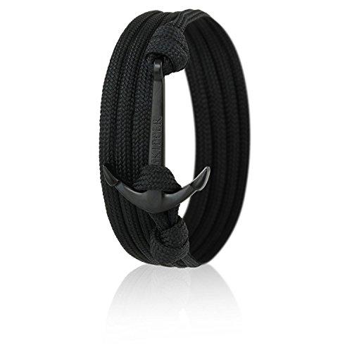 Skipper Anker-Armband mit Schwarzem Anker für Damen und Herren - Schwarz 6620