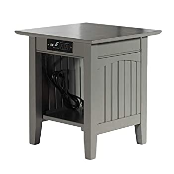 Atlantic Furniture Nantucket End Table with Charging Station Grey