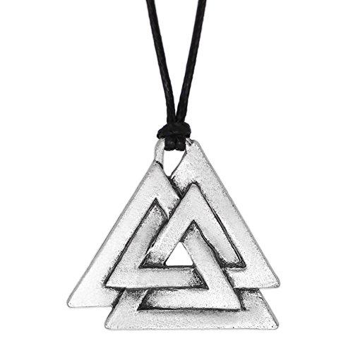 LoveInDeca - Collar con colgante de peltre para hombre con el símbolo de Odin de Norse Viking Warriors