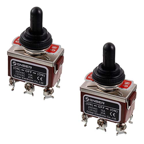 BOJACK RT1322FS Toggle Switch 125V 20A Momentary Automatic Reset Switches 250V 15A DPDT ON -Off- ON 6 Terminal pin Rocker Switch with Metal Waterproof Cap (Pack of 2 pcs) Dpdt Momentary Switch Type