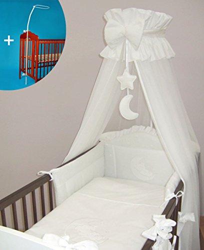Baby Comfort Betthimmel für Babybett, mit Halterung, Design Mond, 480cm, Weiß