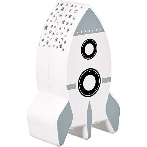 Home Deco Kids LA11044 - Lámpara de noche infantil con proyección de pared cielo estrellado cohete blanco, gris y negro, plástico (altura 15 x 5,7 x 9,5 cm)