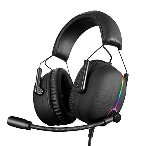 DNACC RGB Casque de Jeu pour PS4 Xbox One PC Laptop Tablette Virtuel 7.1 Sond Surround Écouteur avec Micro à Réduction du Bruit Contrôle du Volume 6 Transducteurs Over Ear Comfortable (Noir)