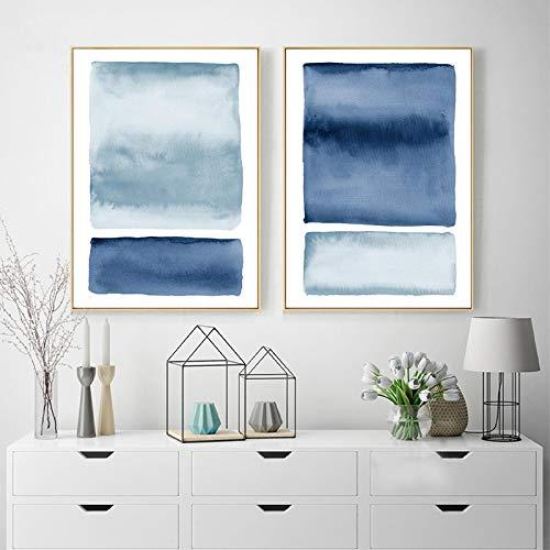 NFXOC Impresión en Lienzo Pinturas abstractas de Acuarela nórdica Azul Cuadros de Pared índigo Carteles artísticos de Pared Costera del océano Decoración de Vida (80x110cm) 2pcs Sin Marco