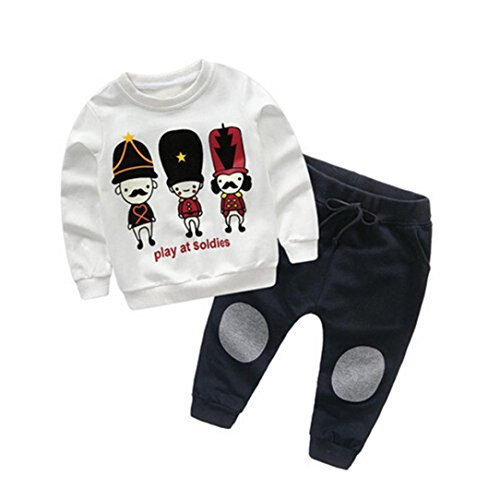 BBSMLIN Ropa de Bebe Invierno Oto/ño Recien Nacido Ni/ño Conjunto de Dos Piezas Like a Boss Camiseta de Manga Larga Pantal/ón a Cuadros