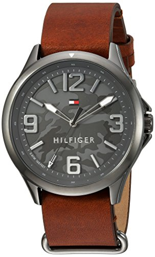 Tommy Hilfiger Men's Casual Sport Quartz Watch with Leather-Calfskin Strap, Brown, 22 (Model: 1791335)