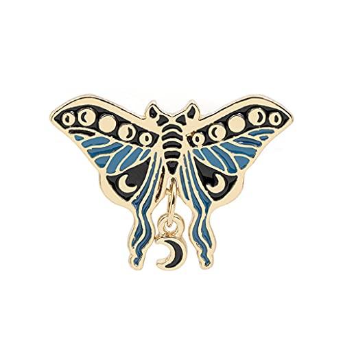 GASSDINER Insignia de Esmalte de Polilla de Luna aleación de Mariposa Esmalte Pin Collar Insignia Ramillete Aniversario cumpleaños joyería Regalo para Mujeres Hombres