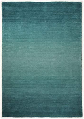 Teppich Marke THEKO Moderner Designer Teppich Farbe Türkis Groesse 70 x 140 cm