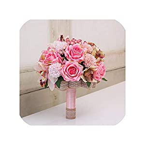 Joyfeel-light 3Pc Set Silk Wedding Bouquet Photograph Bridal Bouquet Artificial Hydrangea Iris Rose Wedding Flowers with Berries,Style 2 Cosmos