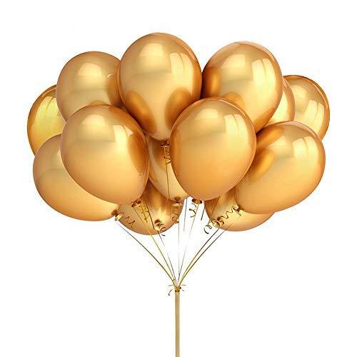 Juego de 100 globos metálicos dorados brillantes, globos de látex impresos, globos para celebración, boda, aniversario, cumpleaños, decoración