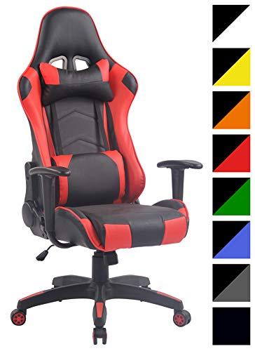 CLP Silla Racing Miracle V2 en Cuero PU I Silla Gaming Regulable en Altura I Silla Gamer con 2 Cojines Removibles I Silla Ordenador I Color: Negro/Rojo