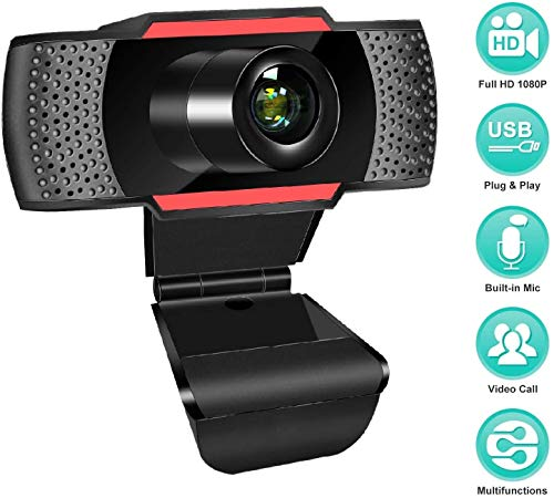 ANWIKE Webcam HD 1080P Con Microfono, Webcam per Computer in Streaming Con Messa a Fuoco Automatica per Laptop/Desktop/Mac/TV USB, Cam per PC USB per videochiamate/conferenze