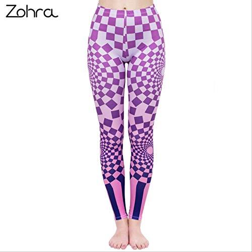 YGKDM Legging de Mujer de Moda Leggins de impresión Leggings de Cintura Alta Punk Leggins Color Slim Pantalones de Fitness Talla única lga40563
