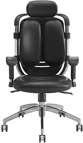 QCHEA Silla de Oficina ergonómica con sillas Ajustables de Oficina de Cuero Escritorio reposacabezas y reposabrazos PU con Soporte Lumbar, la función de inclinación y Bloqueo de posición