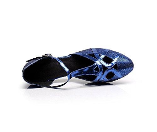 Minitoo qj6133Damen Geschlossen Zehen High Heel PU Leder Glitzer Salsa Tango Ballsaal Latin t-strap Dance Schuhe, Blau Blue-6cm Heel,38 EU/5.5 UK - 5