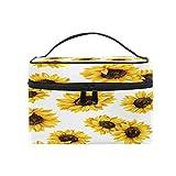 Lihuaval - Bolsa de maquillaje con diseño de girasoles florales para viajes, organizador portátil, neceser para cosméticos, neceser, bolsa de lavado para mujeres y niñas