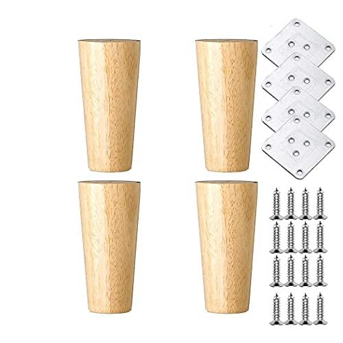 WYBW Pies de soporte para muebles, pies de repuesto para muebles de madera maciza, pies de soporte con placa de montaje y tornillos, utilizados para sofá, TV, gabinete, cama, mesa de comedor, mesita