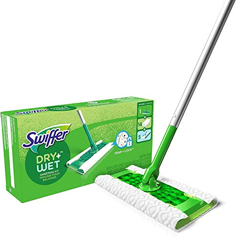 Swiffer Sweeper Dry + Wet All Purpose Floor Mopping and Cleaning Starter Kit with Heavy Duty Cloths, Includes: 1 Mop, 19 Refills