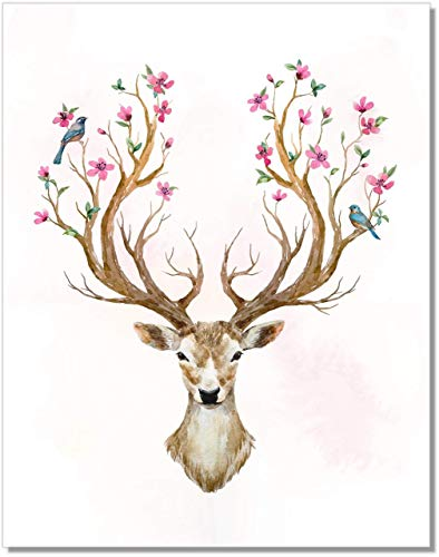 Watercolor Deer Art Print - Floral Antler Decor - 11x14 - Unframed