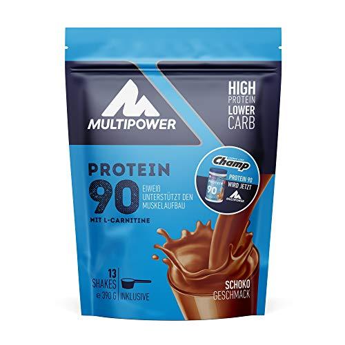 Multipower Protein 90 Proteinpulver 390g, hochwertiges Eiweißpulver mit 34g Eiweiß pro Portion und L-Carnitin, für leckere Shakes zum Muskelaufbau,Schoko
