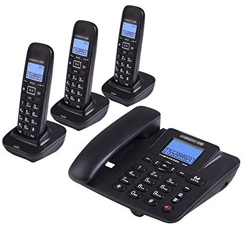 NanXi Teléfono, teléfono inalámbrico Digital, teléfono Fijo inalámbrico Inteligente Fijo,Negro,3niños