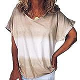 Elesoon Camiseta de verano para mujer con teñido degradado,...