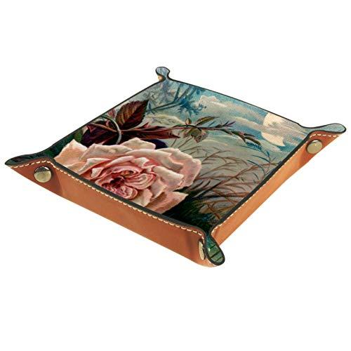 YATELI Petite boîte de Rangement, Plateau de Valet pour Homme,Rose River Moon,Organisateur de fourre-Tout en Cuir pour Bijoux à clés